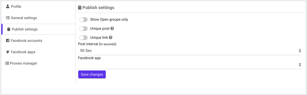 Facebook Groups Publish Settings